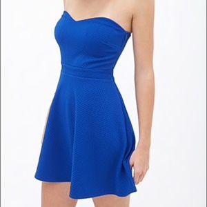 Brand New Royal Blue Strapless Skater Dress